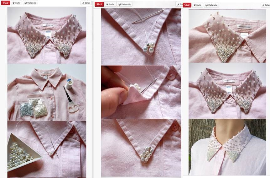Exemplo de tutorial de customização de camisa do site Pinterest.