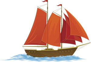 Scarlet sails on a white background