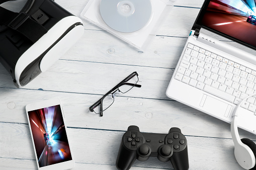 Lot of different kind of gaming accessories.