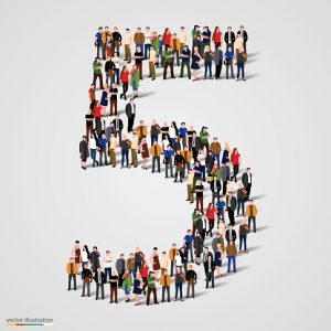 Large group of people in number 5 five form