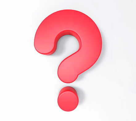3D Isolated Red Question Mark. Doubt Solution Support Concept.